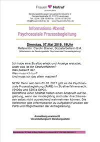 Informationsabend Psychosoziale Prozessbegleitung 07.Mai 2019, 19.00 Uhr