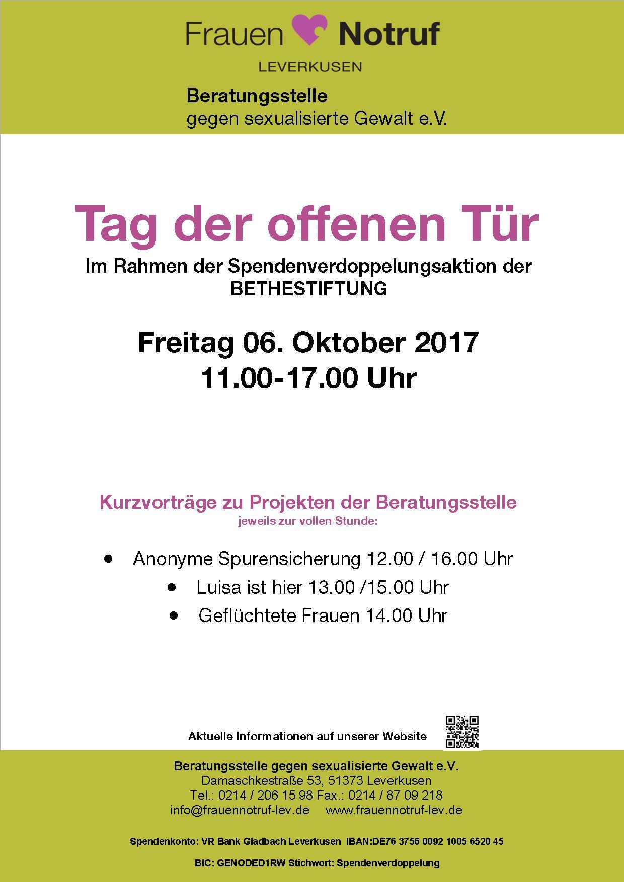 Tag der offenen Tür am 6. Oktober 2017, 11.00 -17.00 Uhr